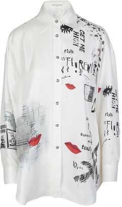 Ermanno Scervino Printed White Silk Shirt With Crystals