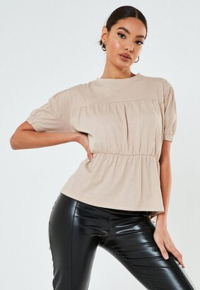 Missguided Smock Pleated Crew Neck Top
