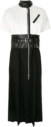 Sacai Belted Moto-Style Dress