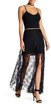 Line & Dot Lace Overlay Maxi Skirt
