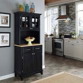 Home Styles Two-Drawer 31.25 in. W Black Buffet with Wood Top and Hutch
