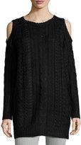 John & Jenn Cold-Shoulder Cable-Knit Sweater Dress