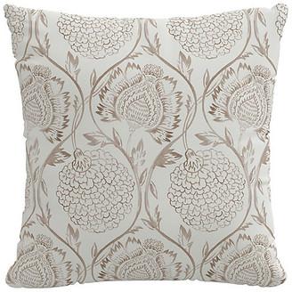 One Kings Lane Ranjit Floral Pillow - Brown/White