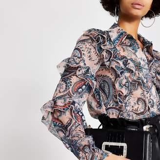 River Island Womens Pink printed ruffle long sleeve sheer shirt