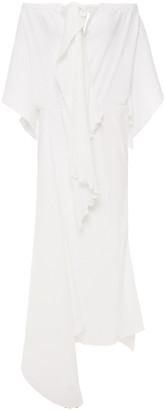 Roland Mouret Draped Textured Crepe De Chine Midi Dress