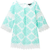 My Michelle mymichelle Printed Bell Sleeve Dress with Crochet Trim (Big Girls)