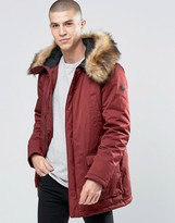 Armani Jeans Parka with Faux Fur Trim In Burgundy