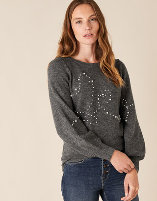 Under Armour Pearl Heart Knit Jumper Grey