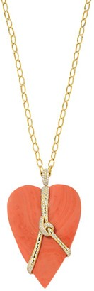 Ippolita Rock Candy 18K Yellow Gold & Diamond-Wrapped Coral Heart Pendant Necklace