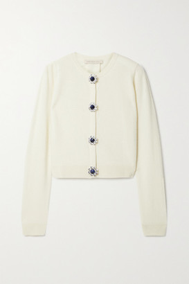 Christopher Kane Cropped Crystal-embellished Merino Wool And Cashmere-blend Cardigan - Cream