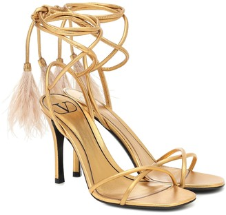Valentino Upflair feather-trimmed leather sandals
