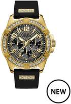 Guess Guess Frontier Gold And Black Crystal Set Multi Dial Black Silicone Strap Mens Watch
