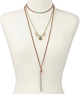 Lucky Brand Multi-Strand Mosaic Turquoise Bolo Necklace