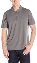 Perry Ellis Men's Solid Polo with Zipper Closure