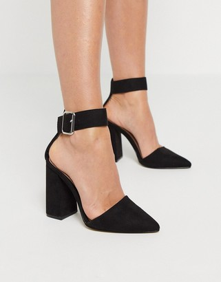 Qupid block heeled shoes in black
