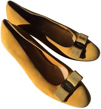 Salvatore Ferragamo Yellow Suede Flats