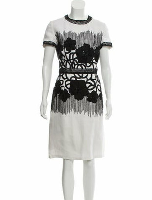 Naeem Khan Linen Embellished Dress black