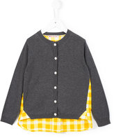 Marni contrast checked panel cardigan - kids - Cotton - 6 yrs