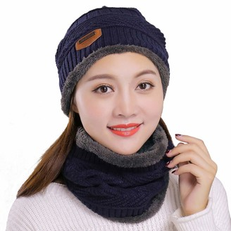 Muryobao Thick Warm Winter Beanie Hat Soft Stretch Slouchy Skully Knit Cap for Women - Blue - One Size