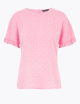Marks and Spencer Woven Polka Dot Short Sleeve Blouse