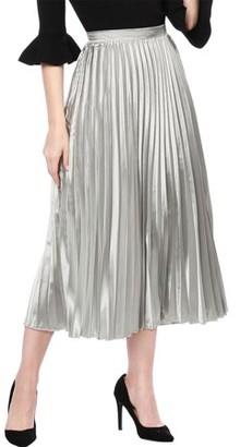 Unique Bargains Women's High Waist Accordion Pleated Metallic Midi Skirt A-line