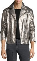 Just Cavalli Crackled Leather Biker Jacket