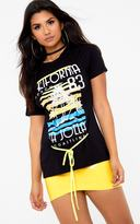 PrettyLittleThing Black Slogan Print Contrast Lace Up T Shirt