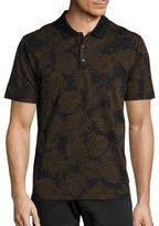 Vince Leaf Printed Cotton Polo