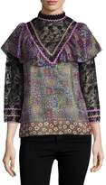 Anna Sui Women's Garden Border Silk Mock Neck Blouse