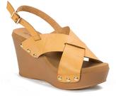 Pierre Dumas Camel Cross-Strap Mighty Wedge Sandal