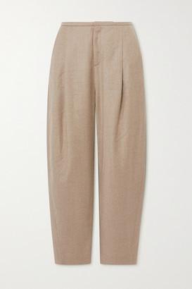 Totême Wool-blend Flannel Straight-leg Pants - Beige
