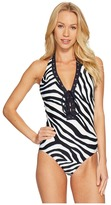 MICHAEL Michael Kors Quincy Zebra Halter One-Piece Women's Swimsuits One Piece