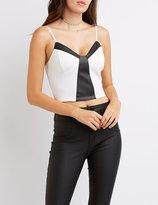 Charlotte Russe Faux Leather-Trim Bustier Crop Top