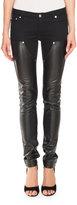 Givenchy Leather & Denim Biker Jeans, Black