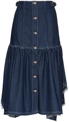 Chloé Ruffled Frayed Denim Skirt