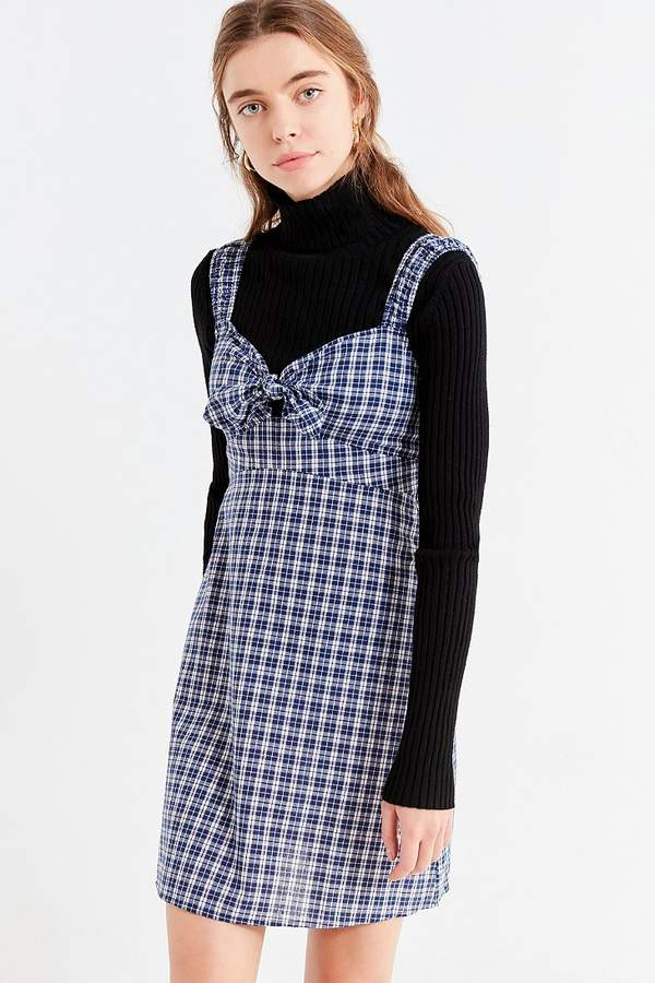 Urban Outfitters Tie-Front Plaid Mini Dress