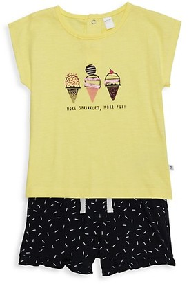 Petit Lem Baby Girl's 2-Piece Ice Cream Cone T-Shirt Shorts Set