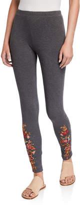 Johnny Was Plus Size Zaret Multi Embroidered Stretch Cotton Leggings