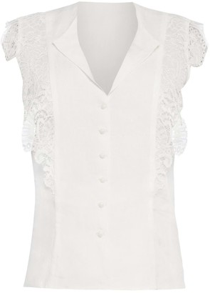 Cliché Reborn Romantic Linen Shirt With Lace Cap Sleeves