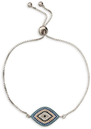 Eye Candy La Luxe Rhodium-Plated Multicolor Cubic Zirconia Evil Eye Charm Bracelet