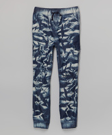 Blue Tie-Dye Denim Jogger Pants - Girls