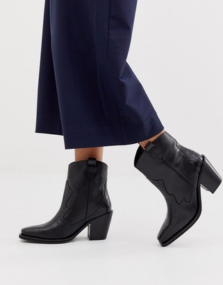 Richmond ASOS DESIGN premium leather pull on western boots in black croc