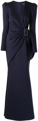 Badgley Mischka Belted-Waist Gown