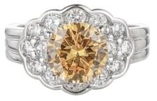A&M A & M Silver-Tone Orange Flower Cluster Ring
