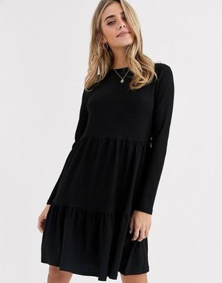 New Look crinkle smock long sleeve mini dress in black