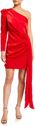Aidan Mattox Draped Charmeuse One-Shoulder Wrapped Cocktail Dress
