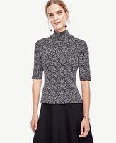 Ann Taylor Petite Tweed Mock Neck Sweater