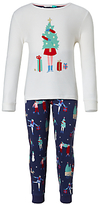 John Lewis Children's Christmas Scene Pyjamas, White/Navy