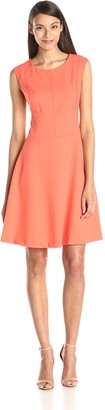 Andrew Marc Women's Cap Sleeve Scoopneck Fit and Flare Dress