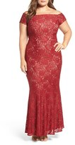 Alex Evenings Plus Size Women's Off The Shoulder Lace Gown